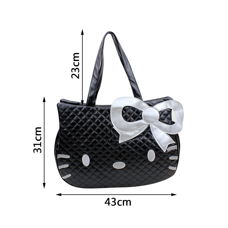 826fa1c78 Cute Hello Kitty Women's Handbag Girl's Travel Organizer Bag PU Bow Lady's  Shoulder Pouch Accessories Supplies Products