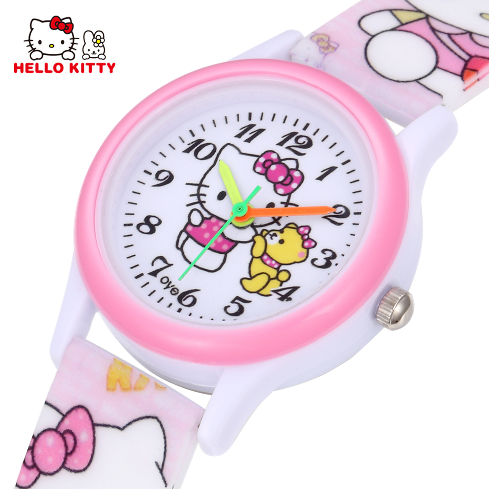 e3ce51a66 Hello Kitty Kids Watches Girls Children Pink Dress Wrist Watch Cute Child  Cartoon Silicone Baby Clock Saat Relogio Montre Enfant