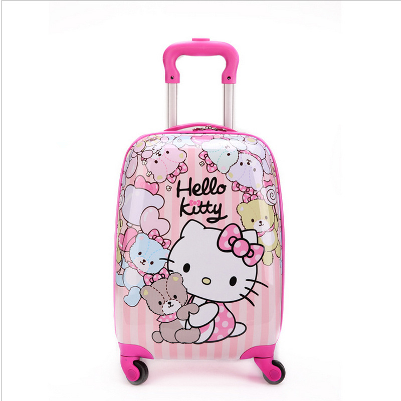 ab4a9dede 16 inch Kid's Lovely Travel Luggage, Children Hello Kitty Trolley Luggage  With Universal Wheel, Pink Suitcase