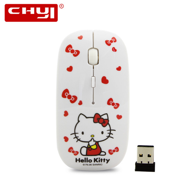 a52cf6eeeb0 Wireless Mouse Hello Kitty 2.4GhZ USB Optical Computer Mice Gaming Mause  Cute Ultra-thin Mouse sem fio For PC Lovely Girl Gifts