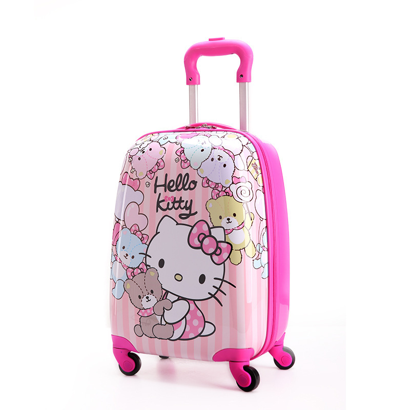 f5366a9df 16 inch Kid's Lovely Travel Luggage, Children Hello Kitty Trolley Luggage  With Universal Wheel, Pink Suitcase