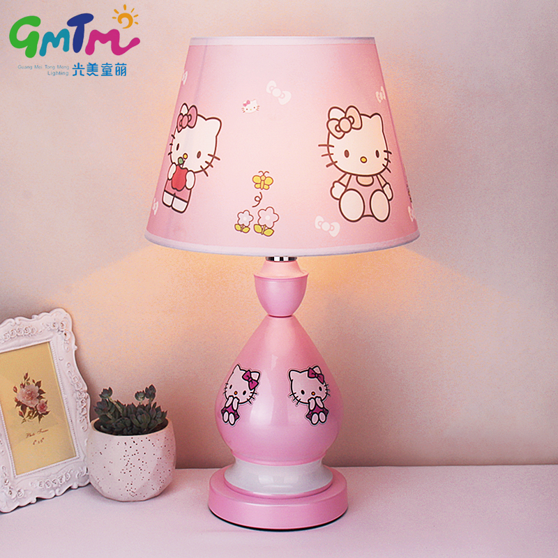 HandPainted Hardware Little Girl Pink Kids Room Light Cartoon Table - Hello kitty lamps for bedroom
