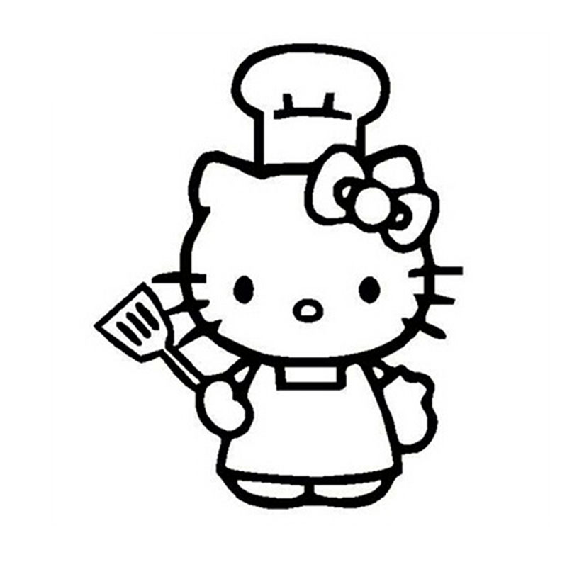 12152CM Funny Hello Kitty Chef Stickers Decals Car Window Glass Decorative Accessories Bumper Sticker C4 0150